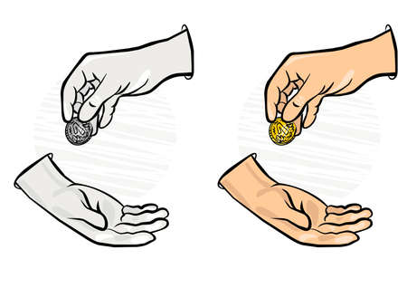 change hands and coin monochrome and colorful business finance illustration  Stock Vector - 17420462