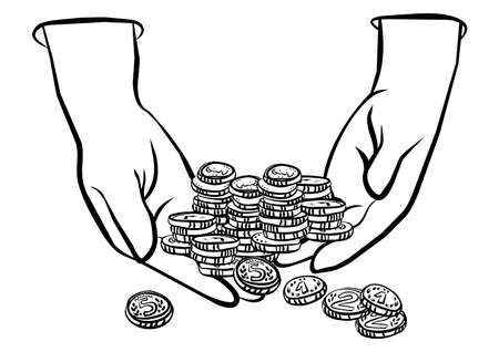 lots of coins in hands monochrome black and white business finance illustration  Vector