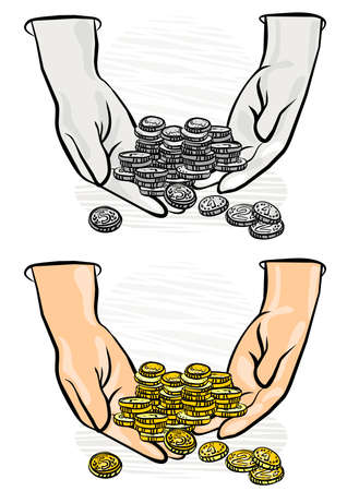 lots of coins in hands monochrome and colorful business finance illustration  Stock Vector - 17420467