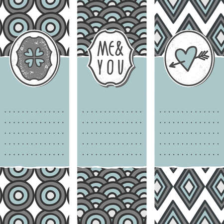set of three long valentines day love romantic cards in gray white and blue with heart clover me and you sign and pierced heart with circle wave diamond shaped background elements  Stock Vector - 17476827