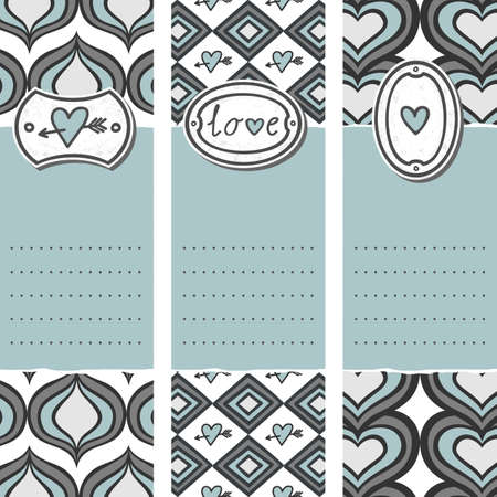set of three long valentines day love romantic cards in gray white and blue pierced heart love sign and heart on label with diamond heart onion shaped background elements  Vector