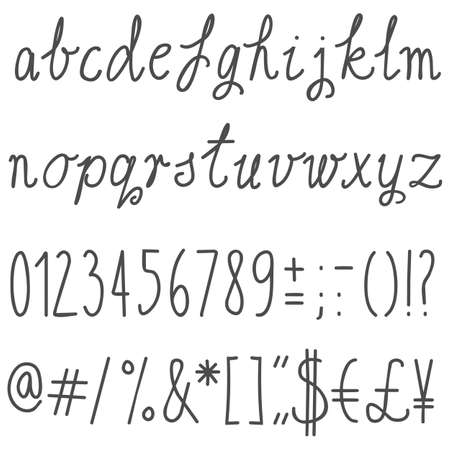 pound: little letters latin alphabet simple hand drawn gray letters and numbers on white background education set