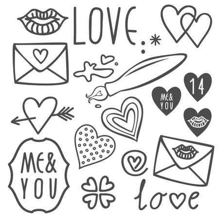 lip pencil: simple hand drawn gray love doodles isolated on white background valentines day set