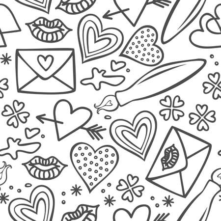 simple hand drawn gray love doodles isolated on white background seamless pattern  Stock Vector - 17476832