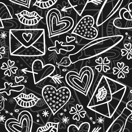 simple hand drawn gray and white love doodles isolated on dark background seamless pattern  Vector