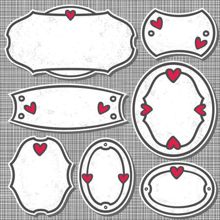 set of 7 hand drawn blank love sign labels with hearts and grunge effect on light patterned gray background  Vector