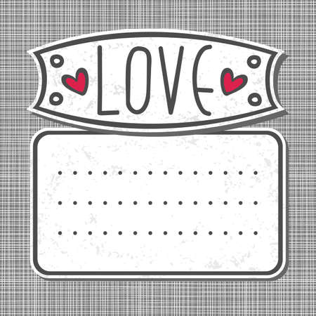 gray white big label love on gray patterned background  Vector