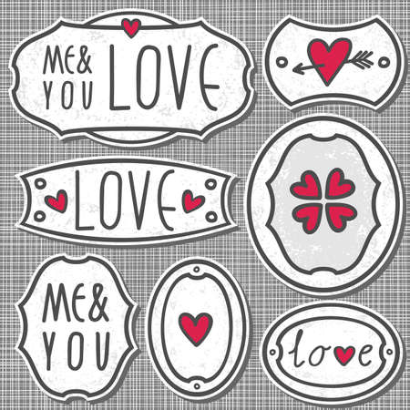 set of 7 hand drawn love sign labels with hearts text and grunge effect on light patterned gray background  Vector