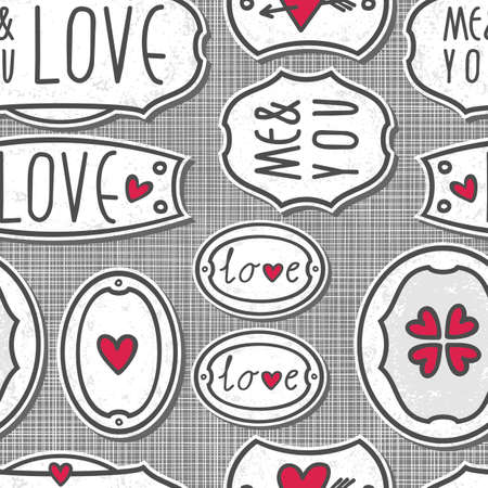 hand drawn love sign labels with hearts text and grunge effect on light patterned gray background seamless pattern Stock Vector - 17681295