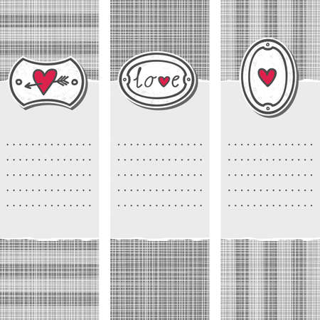 set of three long valentines day love romantic cards in gray white and red with pierced heart love sign and heart on label Stock Vector - 17681294