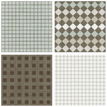 blue beige brown white squares winter colors geometric seamless pattern set of scrapbook backgrounds Vector
