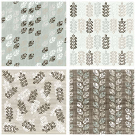 blue beige brown white leaves winter colors botanical seamless pattern set of scrapbook backgrounds Stock Vector - 17681296