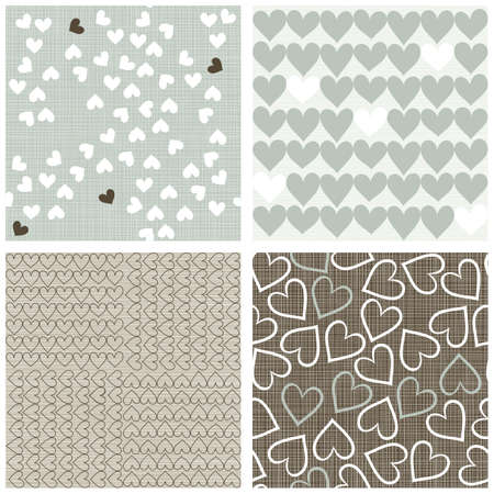 blue beige brown white hearts winter colors romantic seamless pattern set of scrapbook backgrounds Stock Vector - 17681293