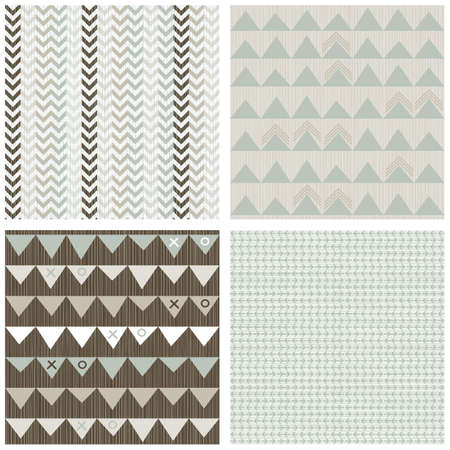 blue beige brown white arrows winter colors geometric seamless pattern set of scrapbook backgrounds Stock Vector - 17681291