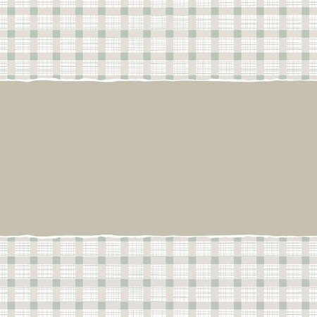 blue beige brown checkered geometric pattern with torn paper on scrapbook horizontal background  Vector