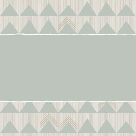 blue beige brown geometric pattern with rows of triangles in winter colors with torn paper on scrapbook horizontal background Vector