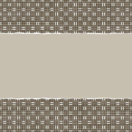 repeatable texture: amarillento marr�n a cuadros patr�n geom�trico en colores de invierno con papel rasgado en el fondo del libro de recuerdos horizontal oscura