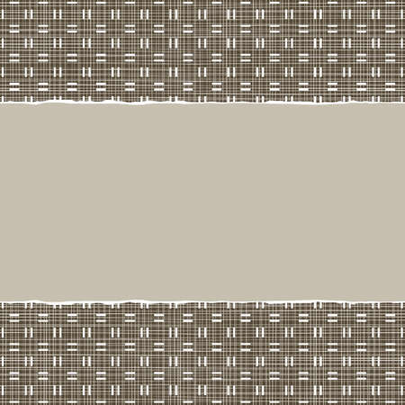 repeatable texture: beige brown checkered geometric pattern in winter colors with torn paper on dark scrapbook horizontal background