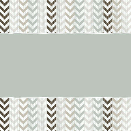 blue beige brown chevron geometric pattern in winter colors with torn paper on scrapbook horizontal background Vector