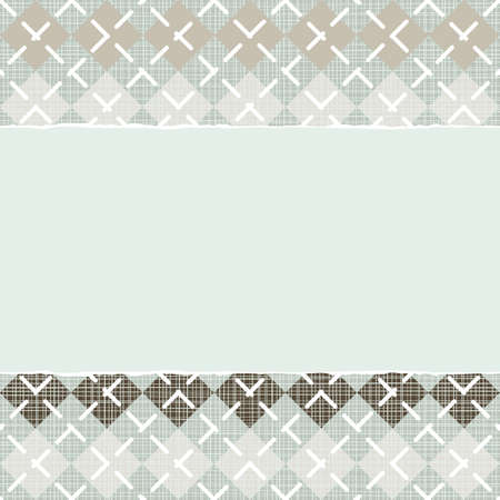 repeatable texture: blue beige brown argyle type pattern  with rows of diamonds in winter colors with torn paper on scrapbook horizontal background