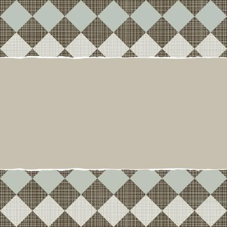 repeatable texture: azul beige marr�n patr�n geom�trico con hileras de diamantes en colores de invierno con papel rasgado en el fondo del libro de recuerdos horizontal oscura