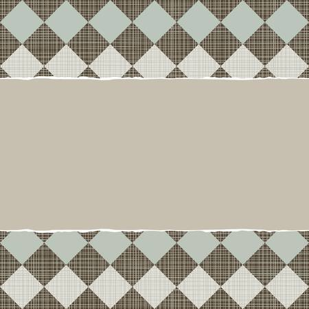 blue beige brown geometric pattern with rows of diamonds in winter colors with torn paper on dark scrapbook horizontal background Vector