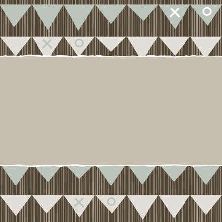repeatable texture: azul beige marr�n patr�n geom�trico con hileras de banderas celebraci�n tri�ngulo en colores de invierno con papel rasgado en el fondo del libro de recuerdos horizontal