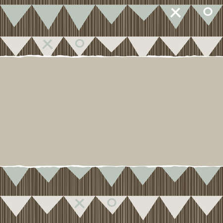 blue beige brown geometric pattern with rows of triangle celebration flags in winter colors with torn paper on scrapbook horizontal background Vector