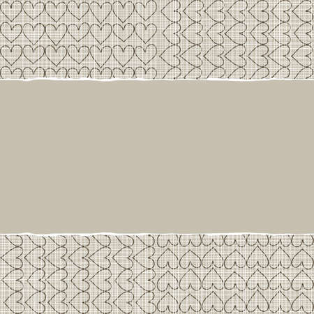 beige brown romantic pattern with rows of hearts in winter colors with torn paper on scrapbook horizontal background Vector