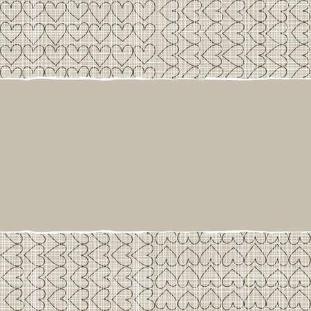 repeatable texture: beige, marr�n modelo rom�ntico con filas de corazones en colores de invierno con papel rasgado en el fondo del libro de recuerdos horizontal