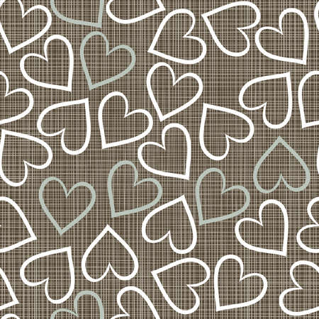 repeatable texture: blue beige brown white romantic seamless pattern with messy border hearts in winter colors Illustration