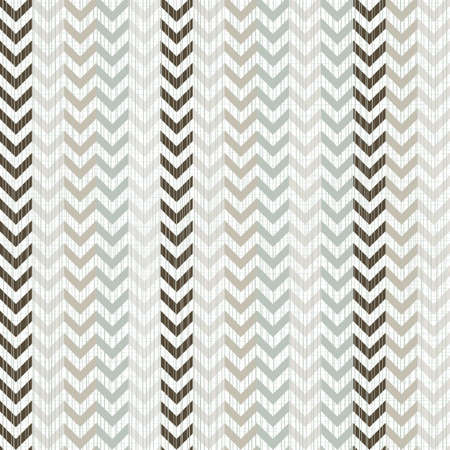 blue beige brown white geometric seamless pattern with chevron in winter colors Vector