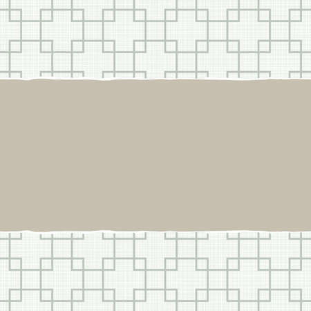 beige blue white retro squares geometric pattern in winter colors with torn paper on light scrapbook horizontal background Vector