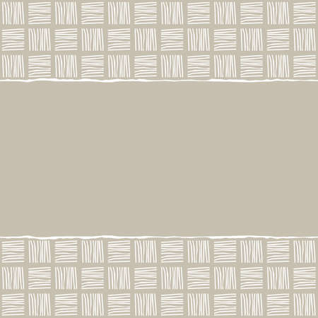 beige brown white geometric pattern with white cross hatch in winter colors with torn paper on scrapbook horizontal background Vector