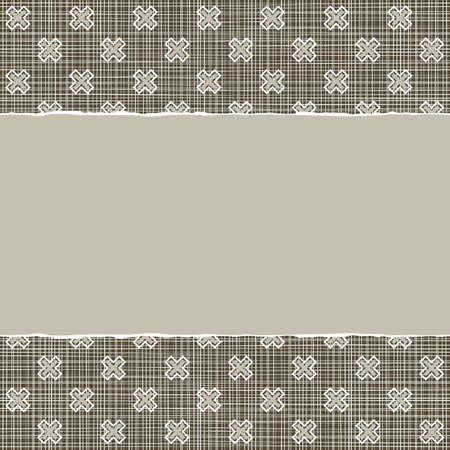 beige brown x cross geometric pattern in winter colors with torn paper on dark scrapbook horizontal background Vector