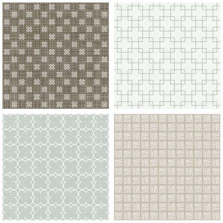 blu beige marrone quadrato bianco Cross Hatch trifoglio colori invernali geometrico senza soluzione di pattern set di sfondi scrapbook Vettoriali