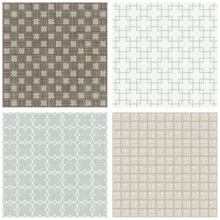 hatch: blue beige brown white square cross hatch clover winter colors geometric seamless pattern set of scrapbook backgrounds
