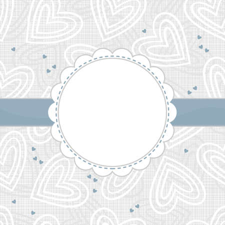white and blue border hearts on light patterned background with white frame and blue ribbon horizontal background Vector