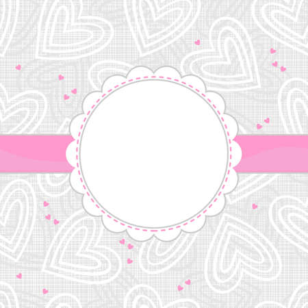 white and pink border hearts on light patterned background with white frame and pink ribbon horizontal background Vector