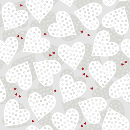 white and red dotted hearts on light patterned background romantic love related seamless pattern Vector