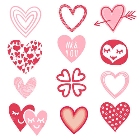 pink red different heart designs on white background romantic doodle set Vector