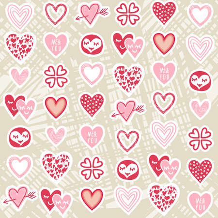 pink red different heart designs on messy beige background romantic seamless pattern Vector