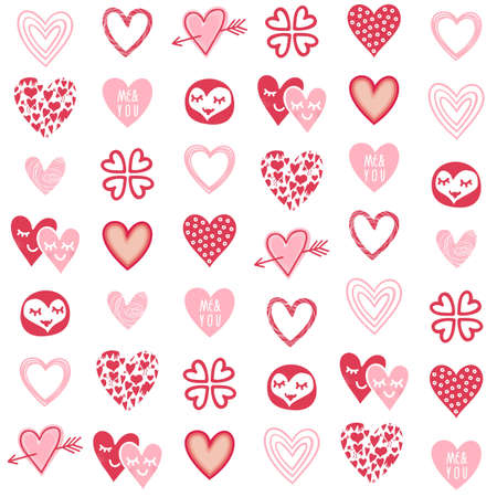 pink red different heart designs on white background romantic seamless pattern Illustration