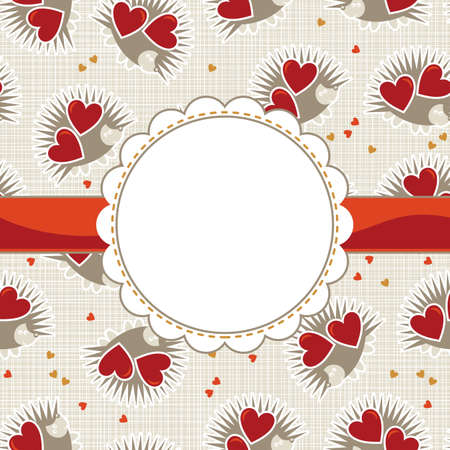 white beige yellow orange red animal childish seamless pattern with little hedgehogs holding hearts and round frame on red ribbon with place for your text scrapbook background Stock Vector - 17681320