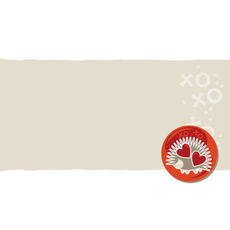 white beige orange red animal childish horizontal torn paper and glossy button with a hedgehog on right scrapbook element Stock Vector - 17681308