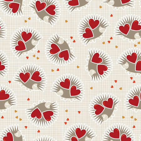 white beige yellow orange red animal childish seamless pattern with little hedgehogs holding hearts scrapbook background Stock Vector - 17681319