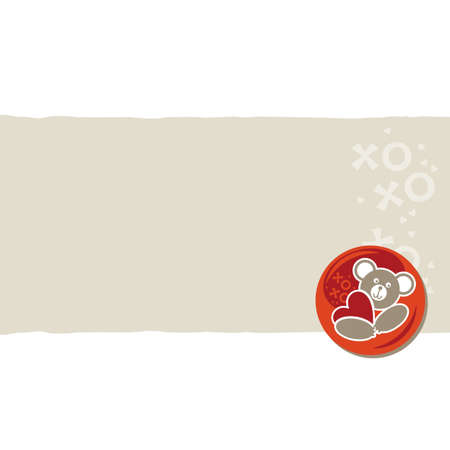 white beige orange red animal childish horizontal torn paper and glossy button with a teddy bear on right scrapbook element Stock Vector - 17681309
