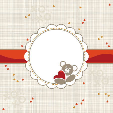 grey background texture: white beige yellow orange red animal childish seamless pattern with little hearts and round frame with teddy bear holding heart on red ribbon with place for your text scrapbook background
