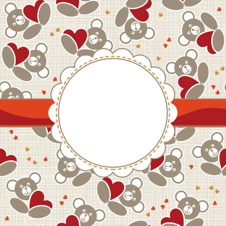 white beige yellow orange red animal childish seamless pattern with little teddy bears holding hearts and round frame on red ribbon with place for your text scrapbook background Vector