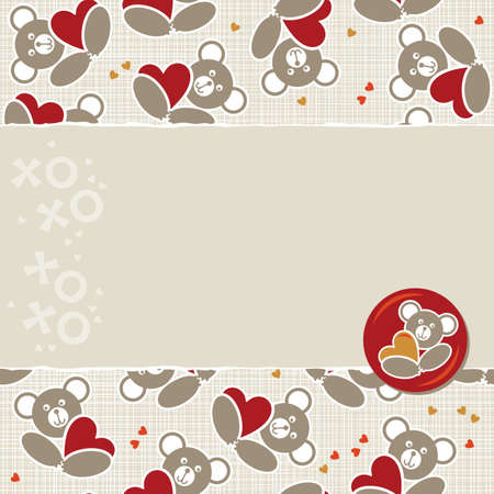 white beige yellow orange red animal childish seamless pattern with little teddy bears holding hearts and torn paper and glossy button with a teddy bear on right scrapbook background Vector